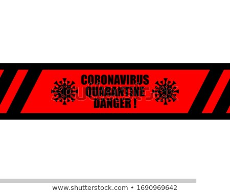 Coronavirus Quarantine Tape sticker pattern. Virus 2019-nCoV on  Stock photo © popaukropa