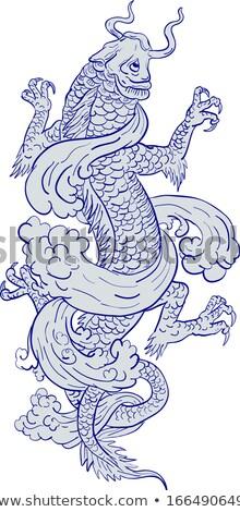 ニシキゴイ 鯉 龍 入れ墨 図面 スケッチ ストックフォト © patrimonio