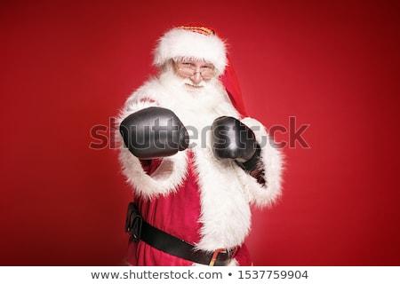 Real papai noel luvas de boxe vermelho pronto lutar Foto stock © NeonShot