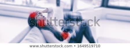 Koronavírus nő feliratok láz köhögés lélegzet Stock fotó © Maridav