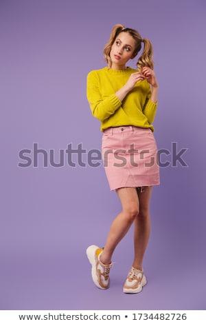 Image calme jolie femme deux posant regarder Photo stock © deandrobot