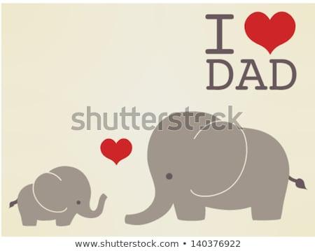 Elefante pai filho vetor desenho animado mundo Foto stock © DamonAce