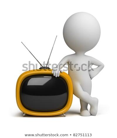 3d · man · tv · televizyon · lcd · siyah · mavi - stok fotoğraf © dariusl