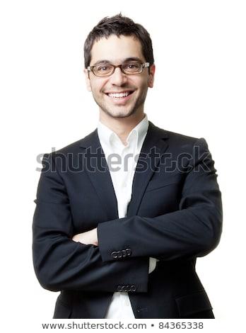 riendo · hombre · traje · stand · blanco · sonrisa - foto stock © Paha_L
