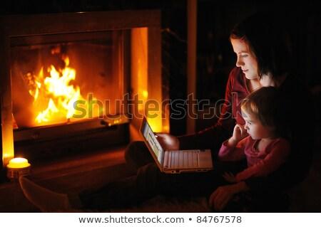 Nyílt tűz laptop fekete textúra notebook mobil Stock fotó © pkdinkar