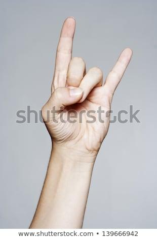 手 悪魔 ジェスチャー 孤立した 白 ストックフォト © ashumskiy