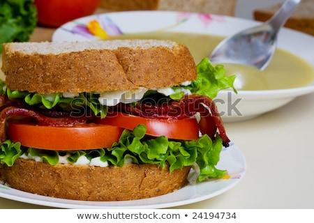 Blt sanduíche sopa tigela ingredientes comida Foto stock © stevemc