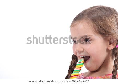 fagylalt · lány · izgatott · boldog · eszik · fagylalttölcsér - stock fotó © photography33