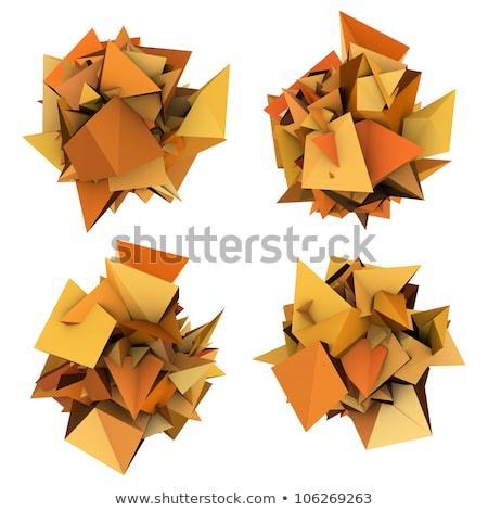 orange 3d abstract modern sculpture on white Stock photo © Melvin07