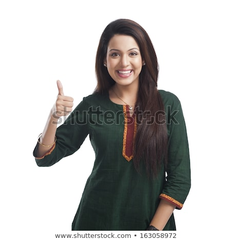 Young brown hair woman showing thumbs-up Stock photo © CandyboxPhoto
