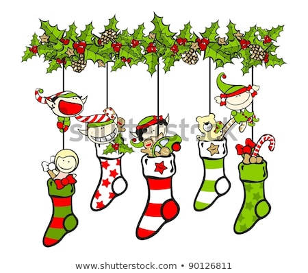 Cartoon christmas kous jongen speelgoed Stockfoto © komodoempire