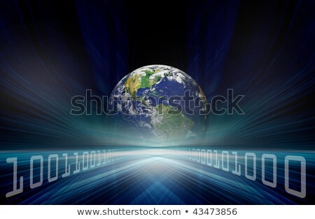 An illustrated connected earth against white background with an Earth image courtesy of Nasa.org stock photo © wavebreak_media