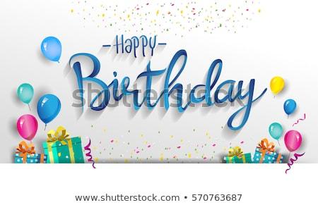 Foto stock: Feliz · aniversário · fonte · tipo · cartão · retro