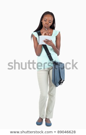 Fiatal diák jegyzetel fehér könyv könyvek Stock fotó © wavebreak_media