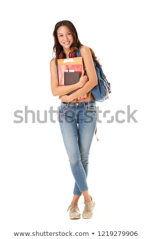 woman with books against white background stock photo © nobilior