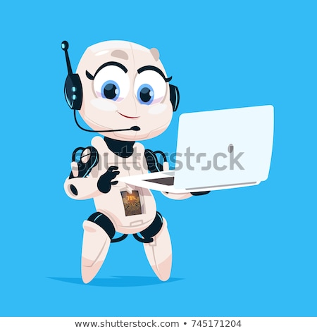 Female Robot with Laptop Computer Stock photo © AlienCat