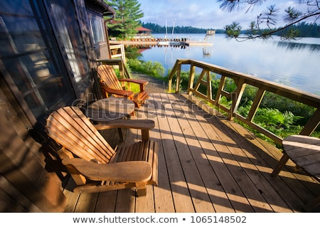 Stock fotó: Dock On Calm Lake In Cottage Country