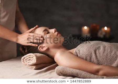 Mooie spa vrouw bank bloem Stockfoto © adam121