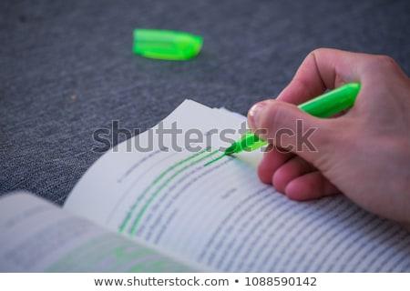 緑 蛍光ペン 孤立した 白 学校 塗料 ストックフォト © karandaev