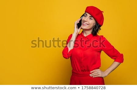 Young happy woman talking on mobile phone. Fashion Brunette Mode Stock photo © Victoria_Andreas