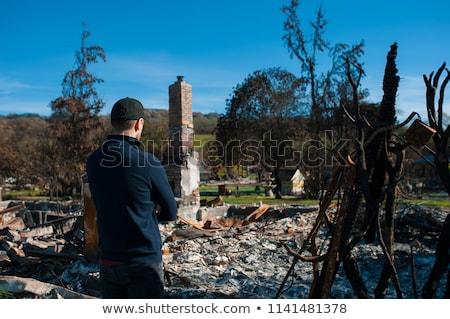 дома руин огня жилой древесины цвета Сток-фото © alex_grichenko