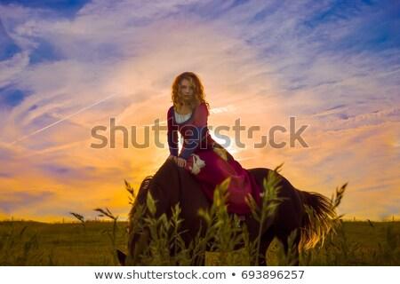 Redhead lady with white horse Stock photo © konradbak