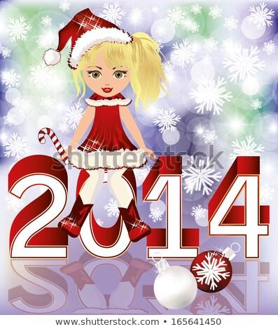 happy 2014 new year and little santa girl vector stock photo © carodi