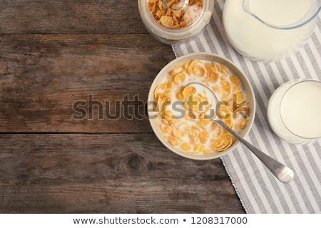 tigela · flocos · de · milho · fora · cereais · isolado - foto stock © m-studio