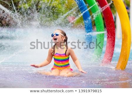 gelukkig · vrouw · beneden · waterglijbaan · vrouwen · hotel - stockfoto © mady70