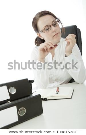 小さな ブルネット 女性実業家 眼鏡 ファイル 爪 ストックフォト © sebastiangauert