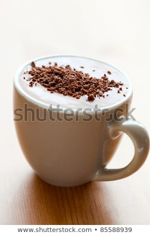 close up of delicious hot chocolate with chocolate sprinklesint stock photo © nuiiko