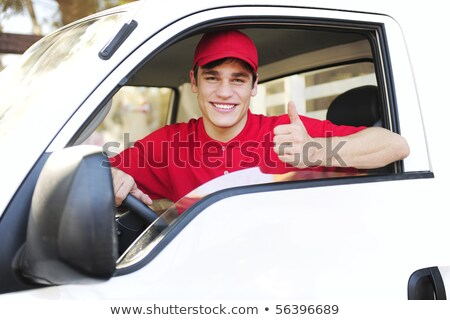 Postal delivery courier man drive cargo van Stock photo © CandyboxPhoto