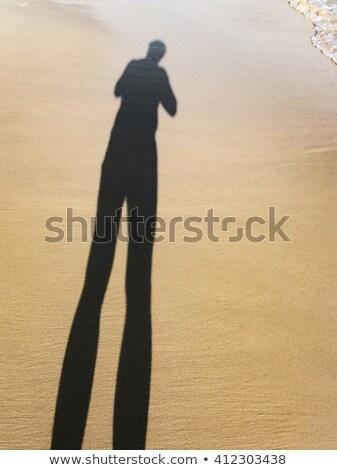 naplemente · homok · tengerpart · nyár · arany · tenger - stock fotó © meinzahn