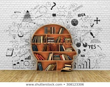 könyvespolc · forma · emberi · fej · fa · illusztráció - stock fotó © make