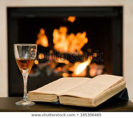 Resting at the burning fireplace fire with a glass of cognac Stock photo © Antartis