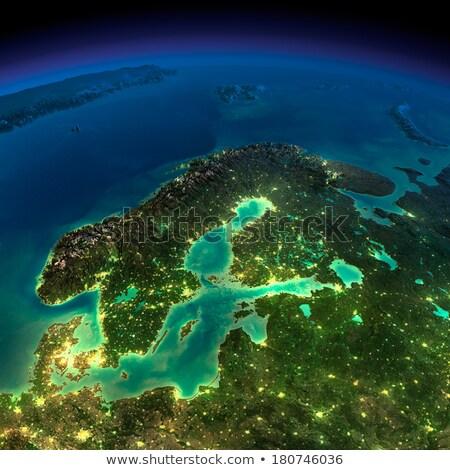 Mapa Látvia mar báltico pescaria carga navios Foto stock © 5xinc