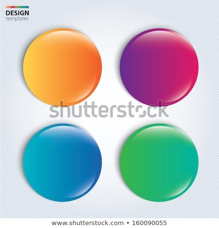 Quatre brillant boutons bleu vert orange Photo stock © tilo