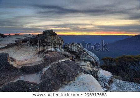 vadi · mavi · dağlar · panorama · gündoğumu - stok fotoğraf © lovleah