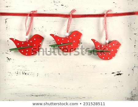 Csinos piros pötty karácsony csecsebecse rusztikus Stock fotó © juniart