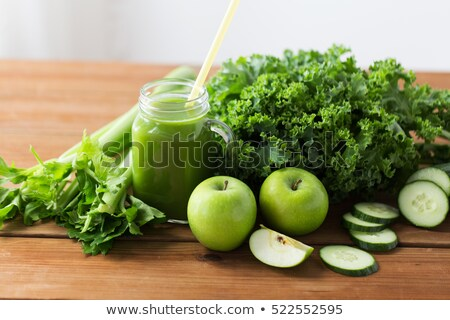 cucumber celery and  lettuce juice in glass Stock photo © travelphotography