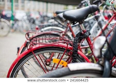 Motosiklet · kırmızı · beyaz · otopark · sokak - stok fotoğraf © lightpoet