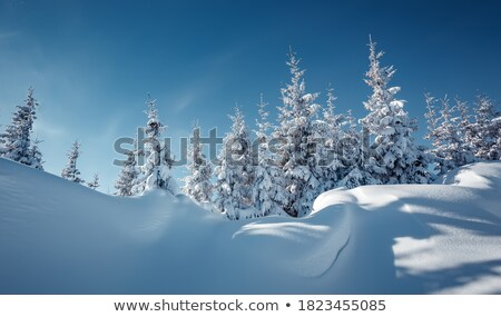 mountains under clouds in sun winter day stock photo © bsani