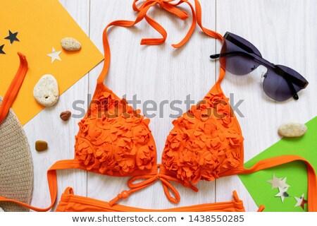 Stock fotó: Fényes · piros · divatos · fürdőruha · melltartó · bugyik