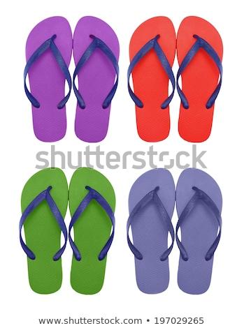 Zöld tengerpart cipők izolált fehér divat Stock fotó © tetkoren