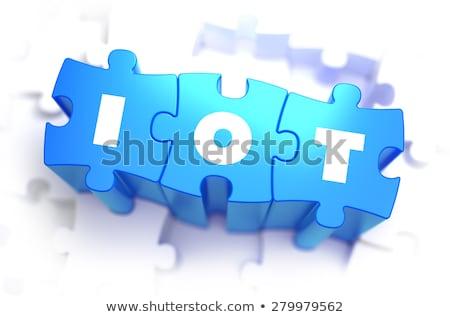 IOT - Text on Blue Puzzles. Stock photo © tashatuvango