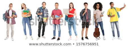 Jóvenes estudiante aislado blanco sonrisa libro Foto stock © Elnur