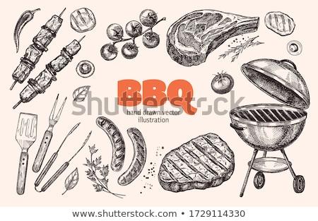 Grelha carne ilustração vetor formato cozinha Foto stock © Slobelix