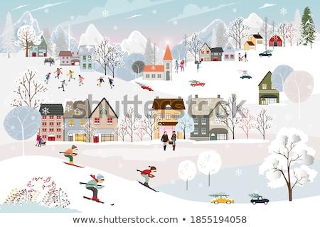 Christmas krajobraz góry bajeczny jodła drzew Zdjęcia stock © Kotenko
