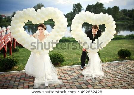 Kalp balonlar düğün töreni beyaz mutlu dizayn Stok fotoğraf © m_pavlov