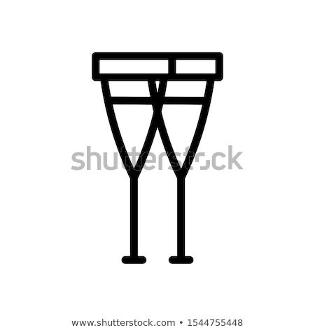 Man krukken lijn icon web mobiele Stockfoto © RAStudio